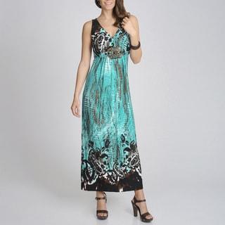 R & M Richards Women's Turquoise Printed Maxi Dress