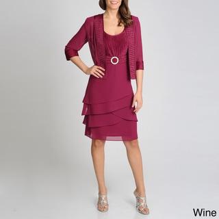 R & M Richards Women's Crushed Satin Jacketed Dress