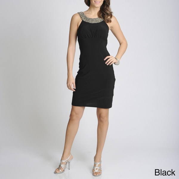 R & M Richards Women's Black Embellished Circle Neck Dress