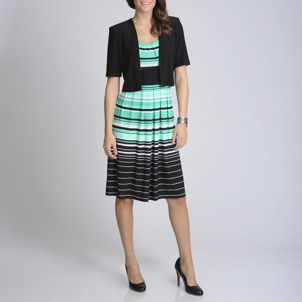 R & M Richards Women's Black/ Aqua Stripe Jacketed Dress