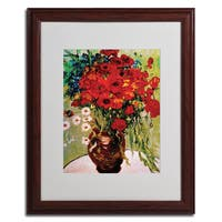 Vincent van Gogh 'Daisies and Poppiest' Framed Matted Canvas Art - Multi