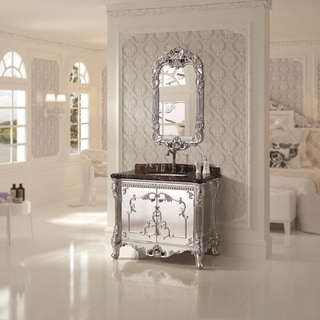 Micro Crystal Glaze Portoro Extra Natural Marble Top 39.5-inch Single Sink Bathroom Vanity with Matching Wall Mirror