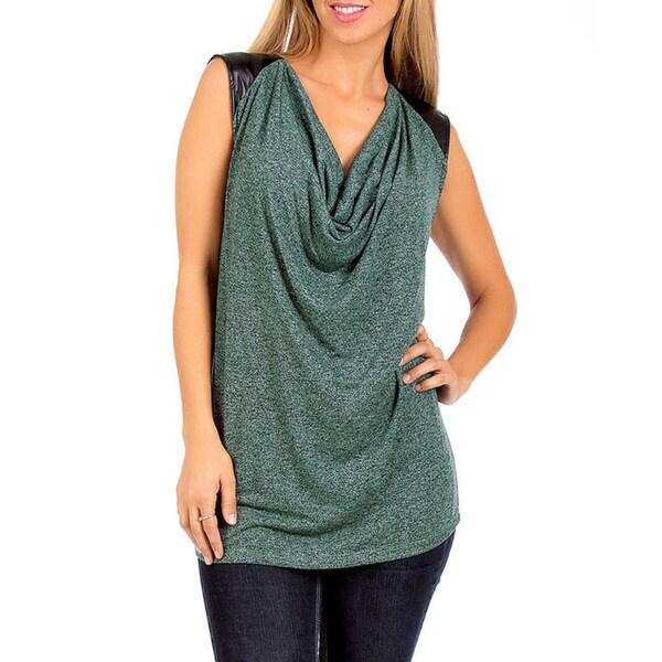 Stanzino Women's Green Drape Neck Top with Leather-look Trim