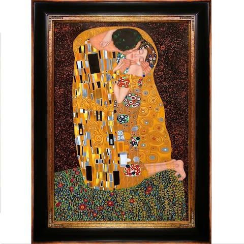 Gustav Klimt 'The Kiss (Full View)' Hand Painted Framed Canvas Art