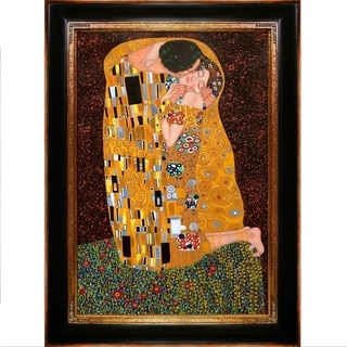 Gustav Klimt 'The Kiss (Full View)' Hand Painted Framed Canvas Art