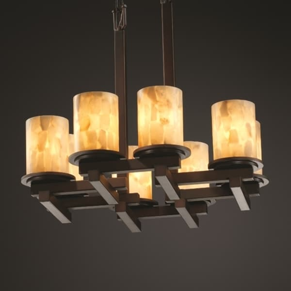 Justice Design Group Dark Bronze 8-light Zigzag Flat Rim Cylinder Chandelier