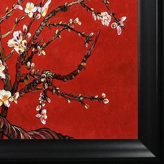 Vincent Van Gogh 'Branches Of An Almond Tree In Blossom (Red)' Hand Painted Framed Canvas Art