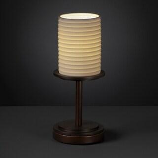 Justice Design Group Dark Bronze 1-light Sawtooth Impression Cylinder Table Lamp