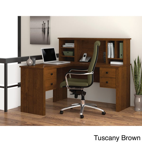 Bestar Somerville L Shaped Desk With Hutch Free Shipping