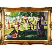 Georges Seurat 'Sunday Afternoon on the Island of La Grande Jatte' Hand Painted Framed Canvas Art