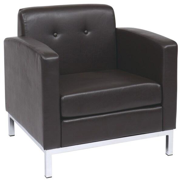Elegant Wall Street Faux Leather Club Chair
