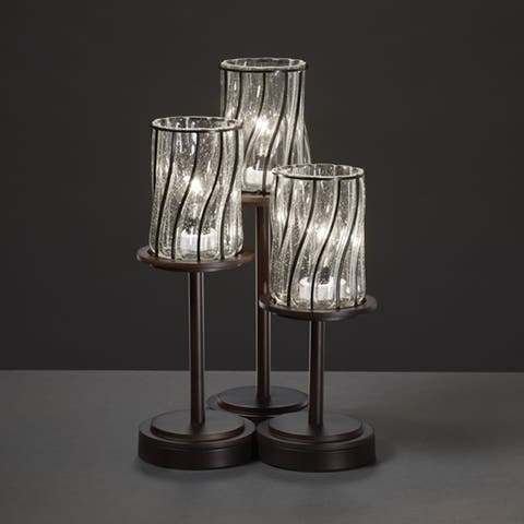 Justice Design Group Wire Glass Dakota 3-light Dark Bronze Table Lamp, Swirl with Clear Bubbles Cylinder - Flat Rim Shade