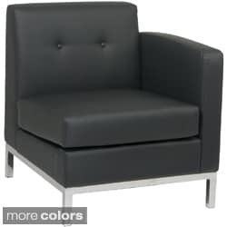 Wall St. Faux Leather and Chrome Right-arm Chair