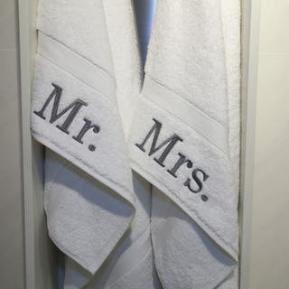 Authentic Hotel and Spa Embroidered 'Mr.' and 'Mrs.' Turkish Cotton