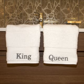 Authentic Hotel and Spa Embroidered 'King' and 'Queen' Turkish Cotton Hand Towel (Set of 2) https://ak1.ostkcdn.com/images/products/7894841/Authentic-Hotel-and-Spa-Personalized-King-and-Queen-Turkish-Cotton-Hand-Towel-Set-of-2-P15275719.jpg?impolicy=medium