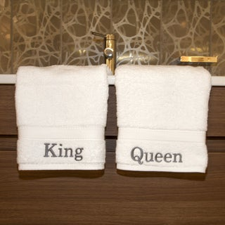 Authentic Hotel and Spa Embroidered 'King' and 'Queen' Turkish Cotton Hand Towel (Set of 2)