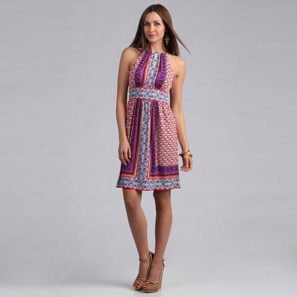 London Times Women's Printed Matte Jersey Keyhole Halter Dress