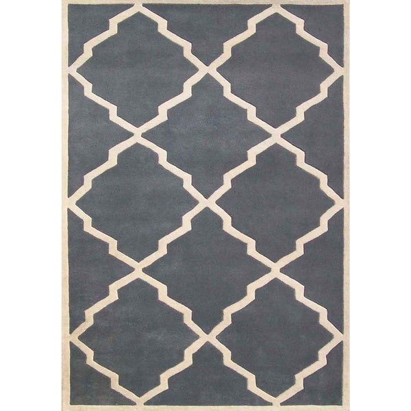 Alliyah Handmade Bluish-Grey New Zealand Blend Wool Rug (4' x 6')