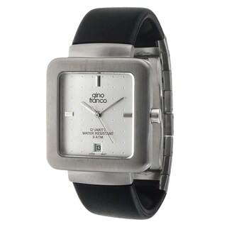 Gino Franco Men's Square Steel Case/ Rubber Strap Watch