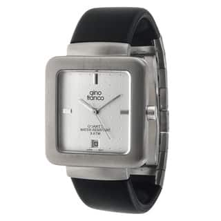 Gino Franco Men's Square Steel Case/ Rubber Strap Watch|https://ak1.ostkcdn.com/images/products/7894975/7894975/Gino-Franco-Mens-Square-Steel-Case-Rubber-Strap-Watch-P15275891.jpg?impolicy=medium