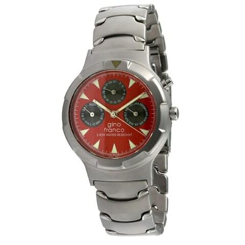 Gino Franco Men's Red Dial Calendar Watch
