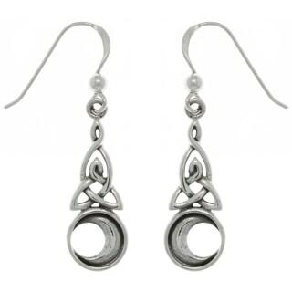 Sterling Silver Celtic Triquetra Moon Earrings