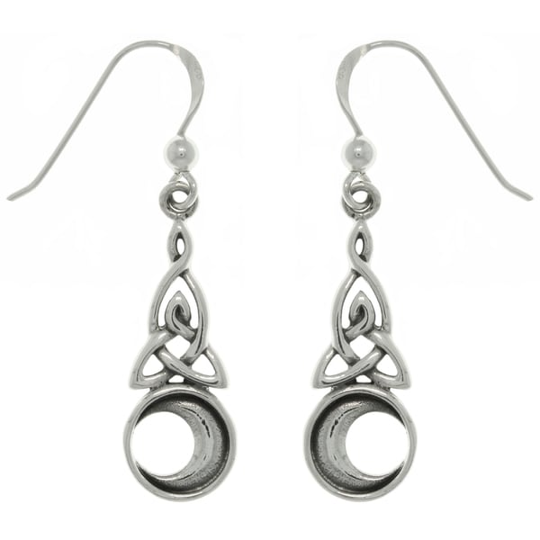 Carolina Glamour Collection Sterling Silver Celtic Triquetra Moon Earrings