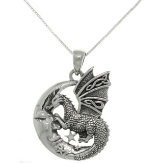 Carolina Glamour Collection Sterling Silver Moon and Dragon Necklace