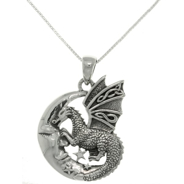 Sterling Silver Moon and Dragon Necklace
