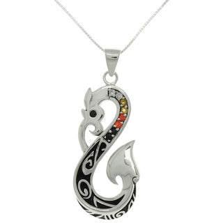 Sterling Silver Crystal Viking Dragon Tail Necklace - Black/Orange/Gold