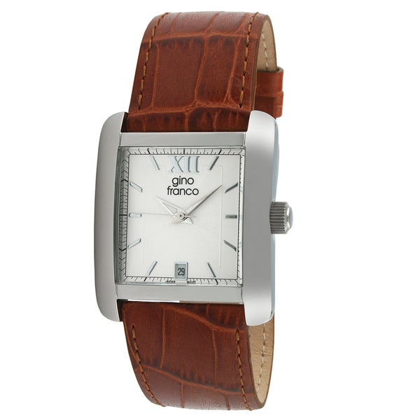 Gino Franco Men's Square Stainless Steel Leather Strap Watch