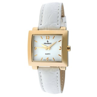 Peugeot Women's Goldtone White Leather Strap Watch