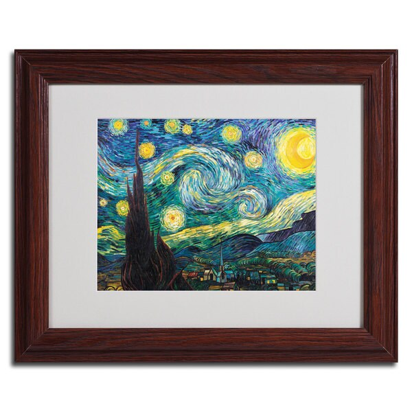Vincent van Gogh 'Starry Night' Framed Matted Canvas Art