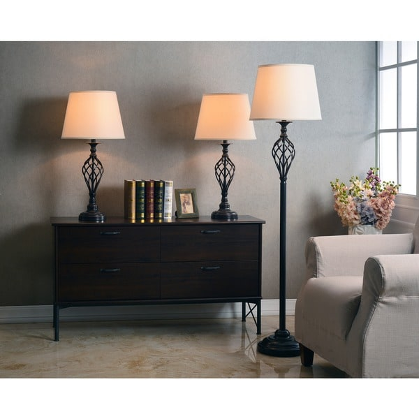'Ostell' Rubbed Bronze Twist Base Lamps (Set of 3)