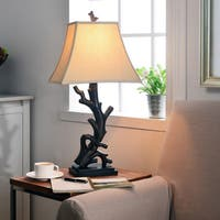 'Luckett' Woodgrain Finished Driftwood Styled Table Lamp