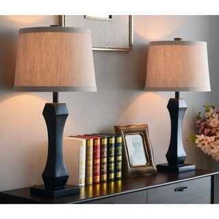 'Aleksis' Rubbed Bronze Table Lamps (Set of 2)