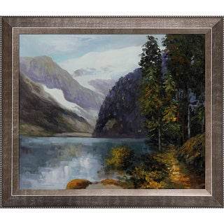 Edward Henry Potthast 'Lake Louise, British Columbia' Hand Painted Framed Canvas Art