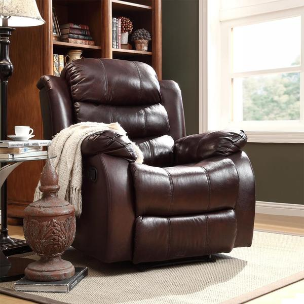 Buxton Burgundy Polished Microfiber Tufted Recliner Chair