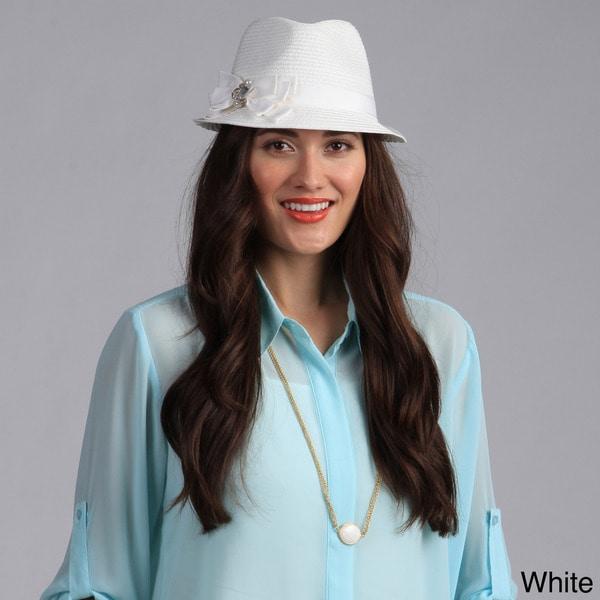 Swan Hat Women's Fedora Straw Ribbon Packable Hat