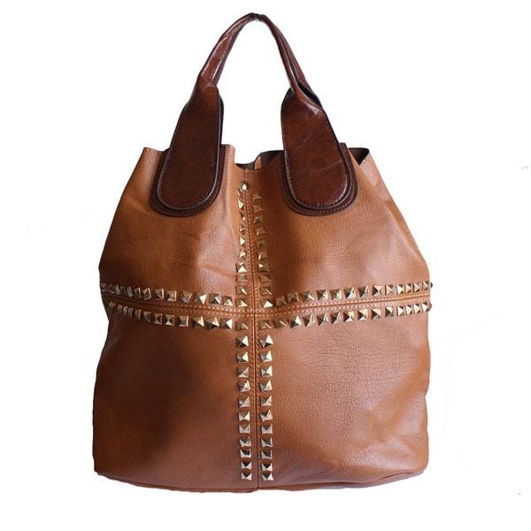 Republic Brown Leatherette Studded Hobo Bag