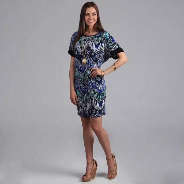 24/7 Comfort Apparel Women's Boat-Neck Printed Dolman Sleeve Dress