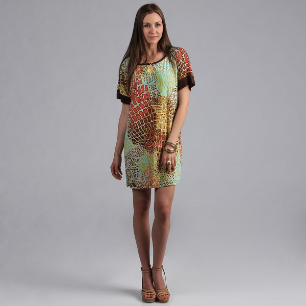 24/7 Comfort Apparel Women's Printed Dolman Sleeve Dress