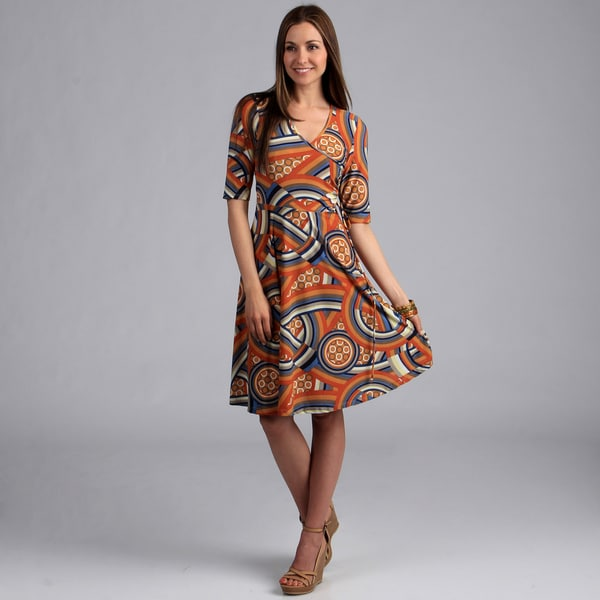 24/7 Comfort Apparel Women's Elbow-Sleeve Faux Wrap Print Dress