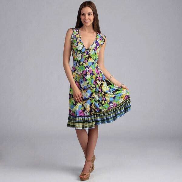 24/7 Comfort Apparel Women's Floral Print Faux Wrap Dress