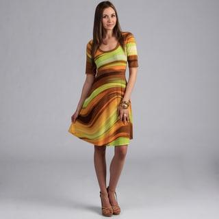 24/7 Comfort Apparel Women's Geometric Print Knee Length Dress