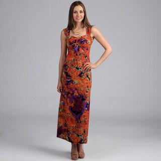 24/7 Comfort Apparel Women's Abstract Sleeveless Maxi Dress
