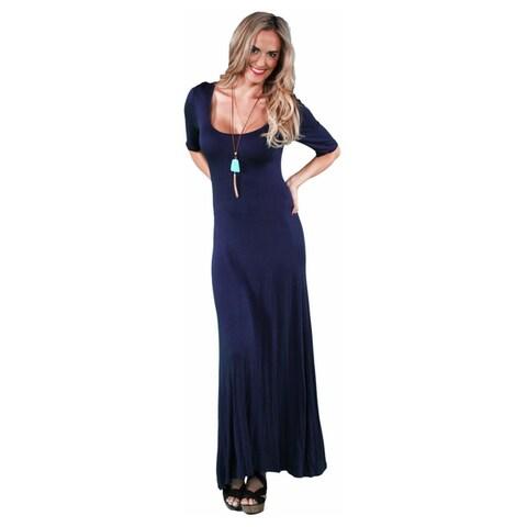 24/7 Comfort Apparel Women's Elbow Sleeve Maxi Dress