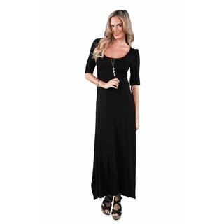 24/7 Comfort Apparel Women's Elbow Sleeve Maxi Dress (Option: Black)|https://ak1.ostkcdn.com/images/products/7896145/P15276878.jpg?impolicy=medium