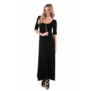 24/7 Comfort Apparel Women's Elbow Sleeve Maxi Dress (More options available)