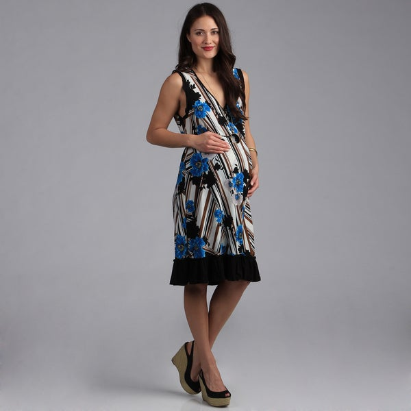 24/7 Comfort Apparel Maternity Faux Print Wrap Dress